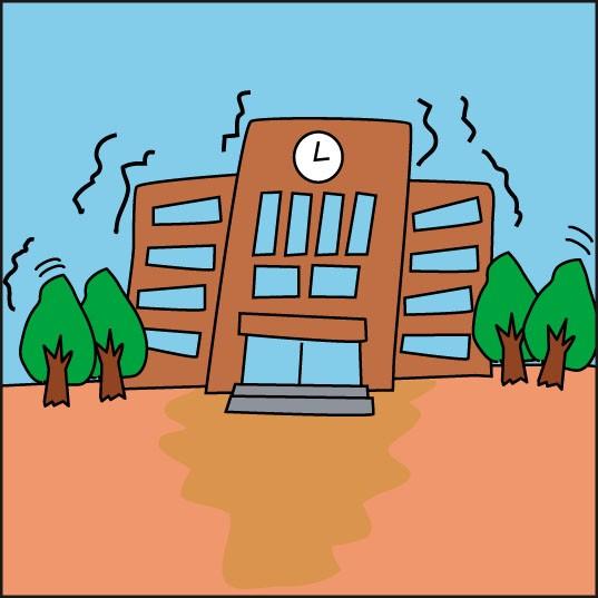 地震の揺れによるセンサー作動のイラストです